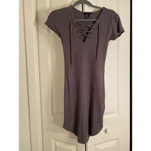 Grey lace up dress